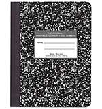 SO: Marble Composition Notebook - Black Hard Cover, Wide Rule (9.75 x 7.5, 100 Sheets)