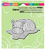 SO: Stampendous Cling Rubber Stamp 4.75x4.5 Sheet - Penpattern Hippo