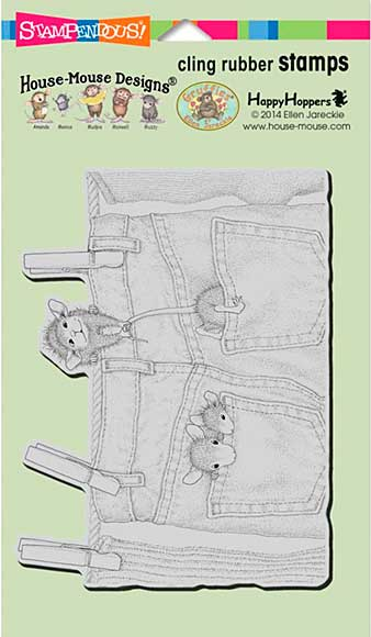 SO: Stampendous House Mouse Cling Rubber Stamp 7.75x4.5 Sheet - Hanging Jeans