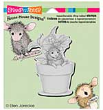 SO: Stampendous House Mouse Cling Rubber Stamp 4.75x4.5 Sheet - Potted Mouse