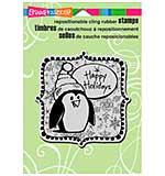 Stampendous Christmas Cling Rubber Stamp 6.5x4.5 Sheet - Penguin Holiday