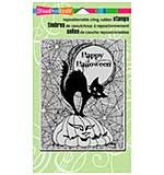SO: Stampendous Halloween Cling Rubber Stamp 7.75x4.5 - Pumpkin Cat