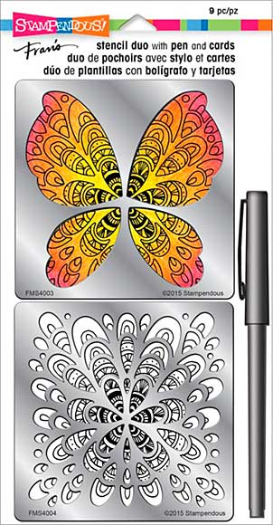 Stampendous Frans Stencil Duo with Pen and Cards - Butterfly