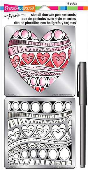 Stampendous Frans Stencil Duo with Pen and Cards - Heart