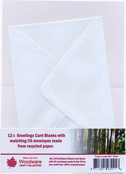 12 x Greeting Card Blanks with C6 Envelopes - White