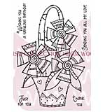 Doodle Flower Basket - Woodware Clear Magic Stamps