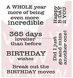 WA16 Woodware Clear Stamps - Birthday Moves