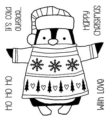 Woodware Clear Singles - Wrapped Penguin