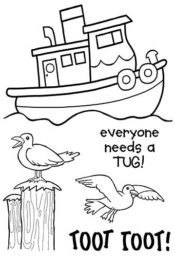 Woodware Clear Stamps - Toot The Tug