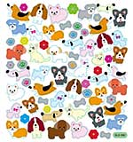 Tattoo King Multicolored Stickers - Dogs With Flowers