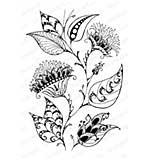 Impression Obsession - Damask Floral CLING Rubber Stamp