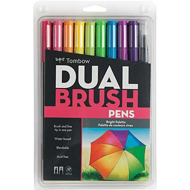 Tombow Dual Brush Markers 10pk - Bright