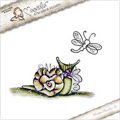 PRE: Magnolia EZ Mount Stamp YB17 - Love Snail with Dragonfly