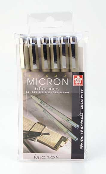 Pigma Micron Wallet - 6 Black Pigment Pens