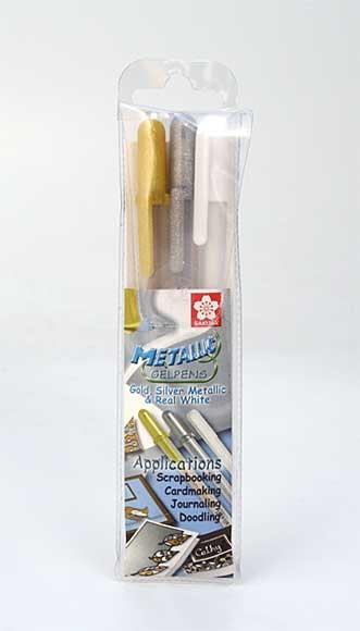 Sakura - Metallic Gel Pens set (Gold Silver Metallic and Real White)