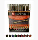 Sakura Pigma Micro Fineliners Pen Selection - Multi-Colour, 0.45mm nib (9 pens)