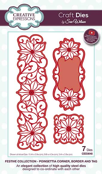 Sue Wilson 2016 Festive Collection - Poinsettia Corner, Border and Tag