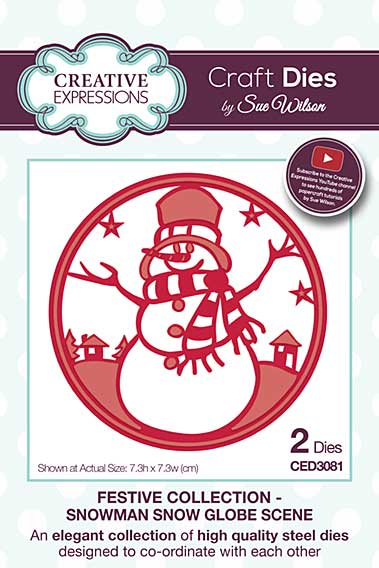 Sue Wilson 2016 Festive Collection - Snowman Snow Globe Scene
