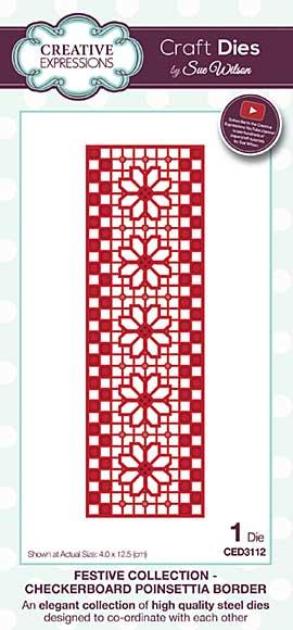 Sue Wilson Festive Collection - Checkerboard Poinsettia Border