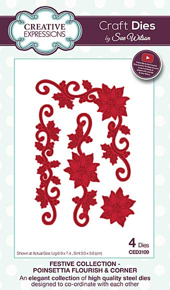 Sue Wilson Festive Collection - Poinsettia Flourish and Corner