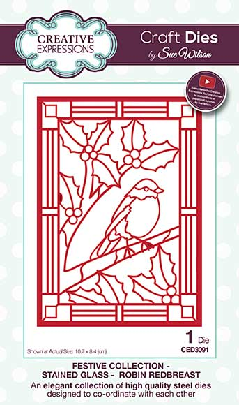 Sue Wilson Festive Collection - Stained Glass Robin Redbreast