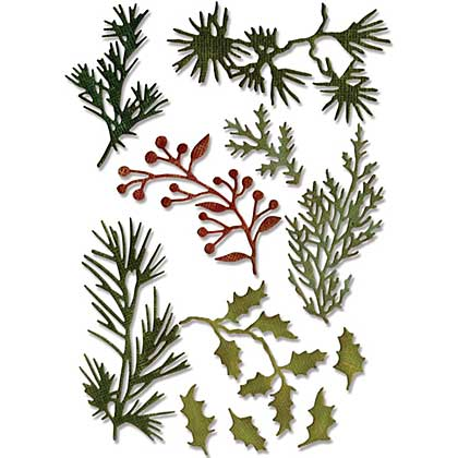 Mini Christmas Holiday Greens - Sizzix Thinlist Dies by Tim Holtz (11pk)