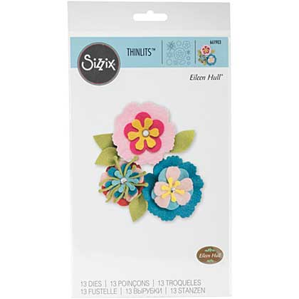 Sizzix Thinlits - Stitchy Flowers and Leaf by Eileen Hull (13pk)