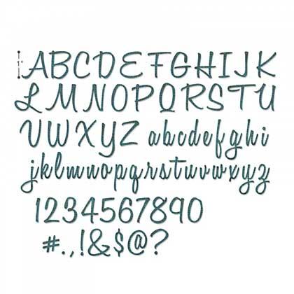 SO: Sizzix Thinlits - Alphanumeric, Script (1 inch tall) (69 dies)