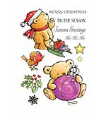 Craft UK - Cute Christmas Bear Rubber Stamps (Unmounted Sheet)