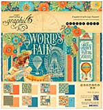 Graphic 45 Double-Sided Paper Pad 8x8 24pk - Worlds Fair, 3 each of 8 Designs