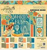 Graphic 45 Double-Sided Paper Pad 12x12 24pk - Worlds Fair, 3 each of 8 Designs