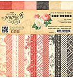 Graphic 45 Double-Sided Paper Pad 6x6 36pk - Mon Amour, 3 each of 12 Prints and Solids