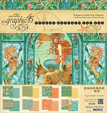 SO: Graphic 45 Double-Sided Paper Pad 8x8 24pk - Voyage Beneath The Sea, 3ea Of 8 Designs