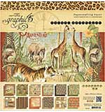 Graphic 45 Double-Sided Paper Pad 12x12 24pk - Safari Adventure, 2ea Of 12 Designs