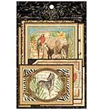 PRE: Graphic 45 Safari Adventure - Ephemera Cards - (16) 4x6 and (16) 3x4
