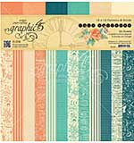 Graphic 45 Double-Sided Paper Pad 12x12 24pk - Caf� Parisian Print and Solid, 12 Designs