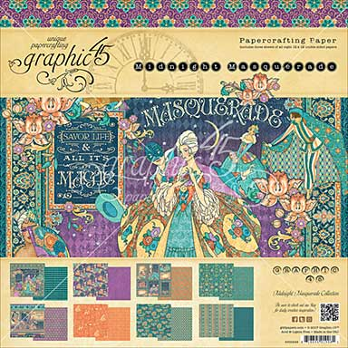 Graphic 45 Double-Sided Paper Pad 12X12 24pk - Midnight Masquerade, 8 Designs