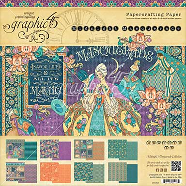 SO: Graphic 45 Double-Sided Paper Pad 8X8 24pk - Midnight Masquerade, 8 Designs