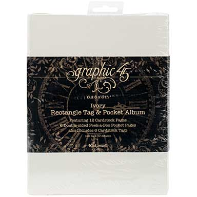 Graphic 45 Staples Tag and Pocket Album Rectangle - Ivory