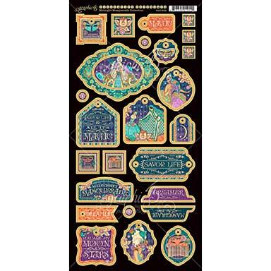 Midnight Masquerade Chipboard Die-Cuts 6X12 Sheet - Decorative