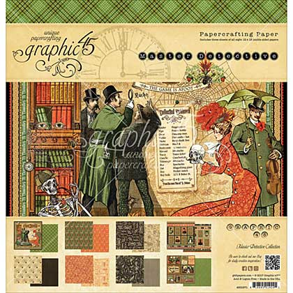 Graphic 45 12x12 Paper Pad - Master Detective (12 Designs 2 Each, Double-Sided)