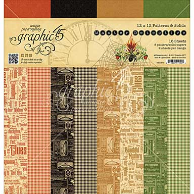 Graphic 45 12x12 Paper Pad - Master Detective Print Solid, 12 Designs