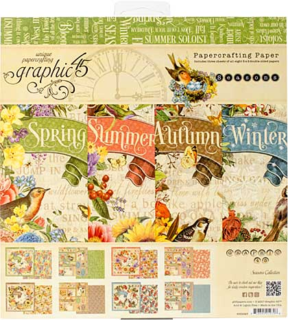 Graphic 45 Seasons 8x8 Double-Sided Paper Pad 24pk (8 Designs 3 Each)