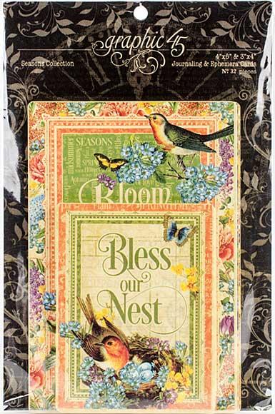 Graphic 45 Seasons Journaling and Ephemera Cards (4x6 and 3x4)