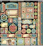 SO: Graphic 45 Pennys Paper Doll Decorative Cardstock Stickers 12x12
