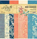 SO: Graphic 45 Sun Kissed 12x12 Double-Sided Paper Pad Print and Solid, 16pk (8 Designs)