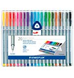 Staedtler 20 Triplus Fineliner Coloured Pens (0.3mm) Brilliant Colours