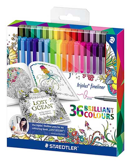 Staedtler Triplus Fineliner, Exclusive Johanna Basford Edition - 36 Assorted Colours