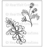 Heartfelt Creations Cling Rubber Stamp Set 5x7.75 - Feathered Daisy