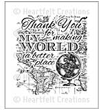 Heartfelt Creations Cling Rubber Stamp Set 5x6.5 - My World (ED15)
